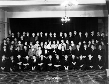 Sixth annual graduation banquet – UBC Japanese Students' Club  (April 30, 1938) Photo: Japanese Canadian Photograph Collection, Rare Books and Special Collections, UBC Library, JCPC 33.0001